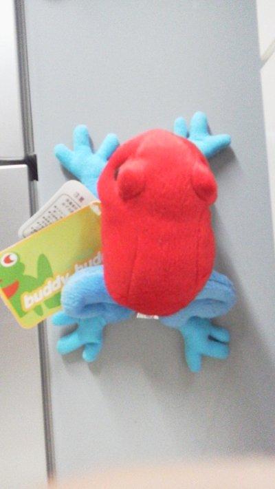 画像1: マグネット付ぬいぐるみ(カエル赤)